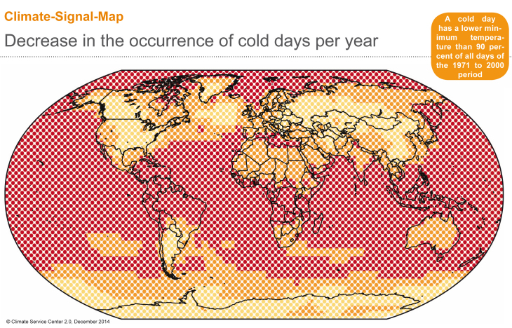 CSM Decrease in the occurrence of cold days per year