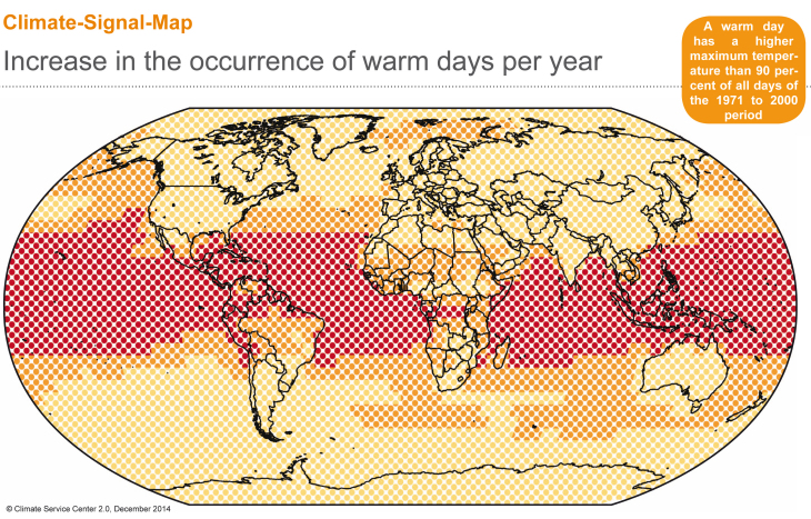 CSM Increase in the occurrence of warm days per year